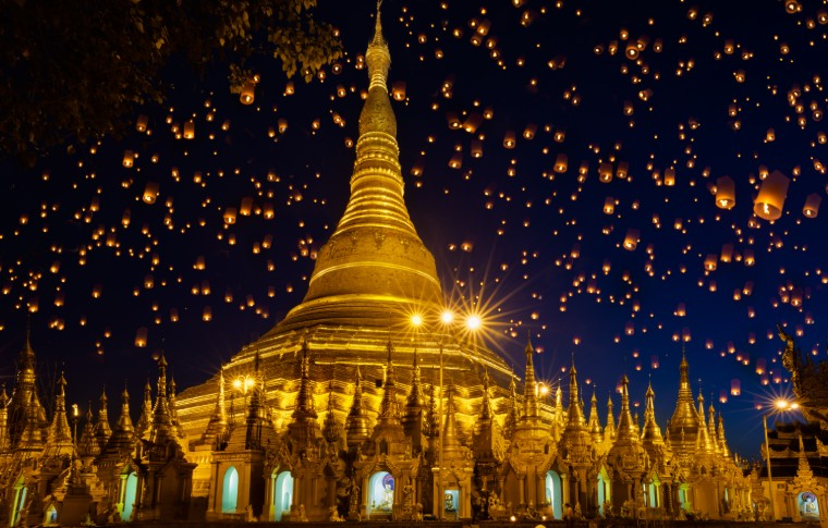 Shwedagon pagoda with larntern in the sky Yangon