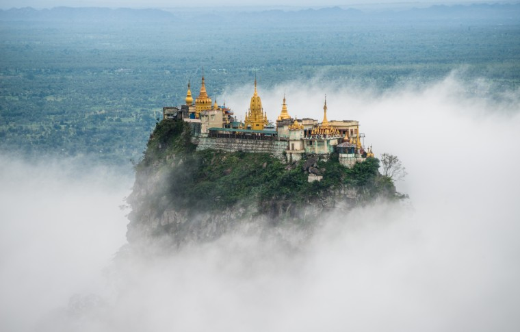 Spectacular view of Mount Popa over the clouds