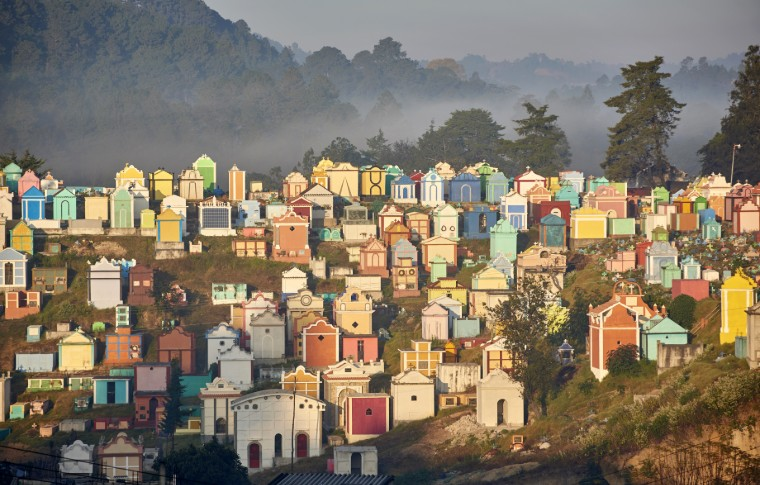 distant view of colorful houses