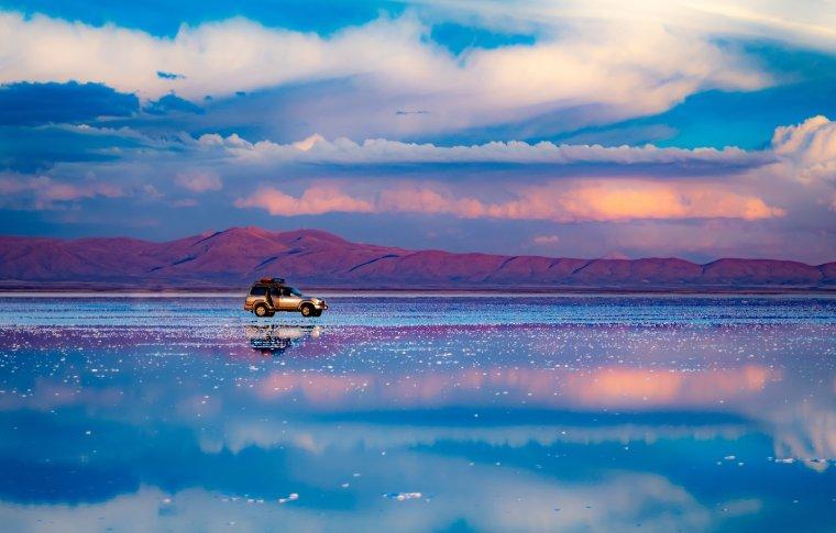 salt flats reflecting sky