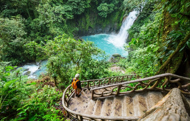 stairs leading to waterfall