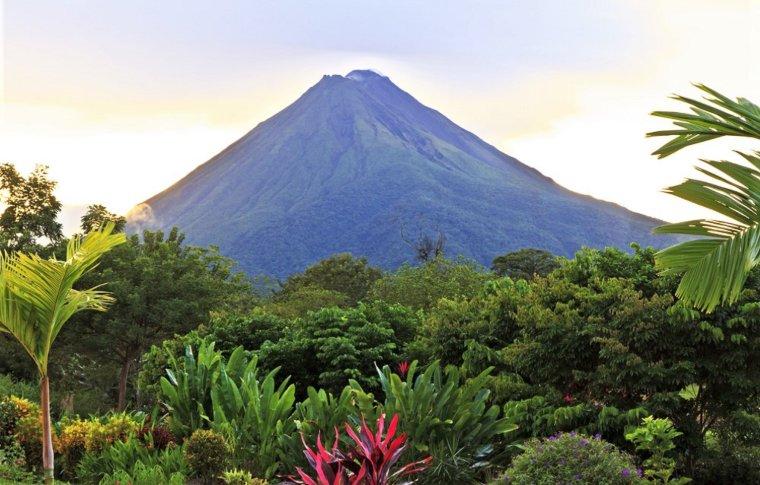 volcano with lush rainforest