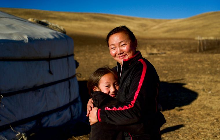 mongolian mother and daughter outsider a ger
